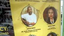 Banner showing MC Oluomo as guest speaker at an event in UNILAG. [PHOTO CREDIT: Twitter handle of Kemi Ariyo]