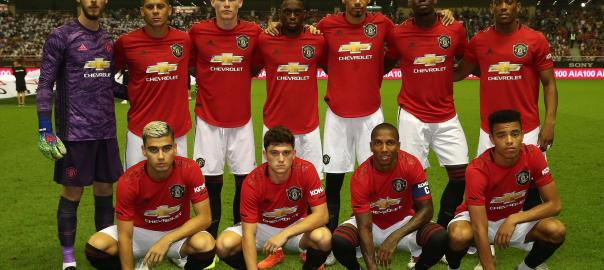 The Manchester United team (Back row L-R: David de Gea, Marcos Rojo, Scott McTominay, Aaron Wan-Bissaka, Chris Smalling, Paul Pogba, Anthony Martial. Front row L-R: Andreas Pereira, Daniel James, Ashley Young, Mason Greenwood) lines up ahead of the International Champions Cup match between Tottenham Hotspur and Manchester United at the Shanghai Hongkou Stadium on July 25, 2019 in Shanghai, China. (Photo by John Peters/Manchester United via Getty Images)