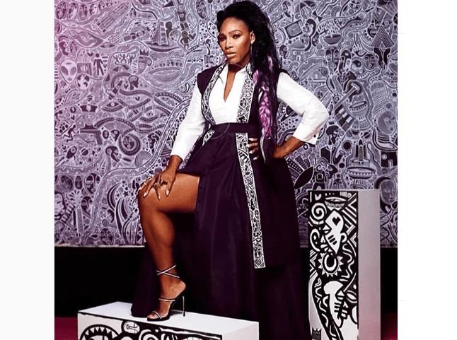 Serena Wiliams in Kimono made by Jane Michael Ekanem [Photo: Instagram @janemichaelekanem]