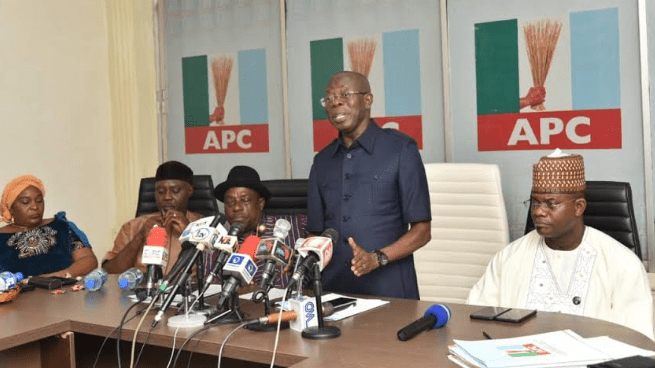 Mr Oshiomhole speaking at APC headquarters in Abuja during a meeting of the National Working Committee of the party with the governorship aspirants in the state