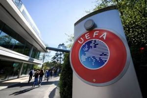 UEFA building used to tell the story. [PHOTO CREDIT: TalkSPORT]