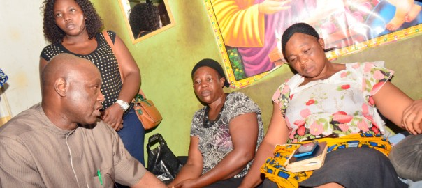 L-R: Secretary to Ekiti State Government, Hon. Biodun Oyebanji; consoling Mrs Esther Okunofua, Mother of the late Joseph Okunofua, when Ekiti State Government delegation paid a condolence visit to the family of the slain student of the Federal University, Oye-Ekiti; in Ido-Ekiti…on Friday