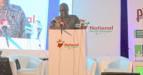Premium Times Publisher, Dapo Olorunyomi speaking at the National Health Dialogue