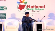 Health minister, Osagie Ehanire at the National Health Dialogue organised by Premium Times.