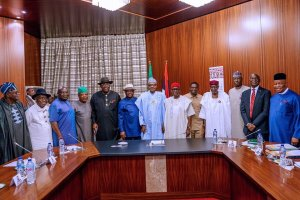 President Buhari Receives South East governors and selected leaders and stakeholders from the zone. [Photo: @Bashirahmad]