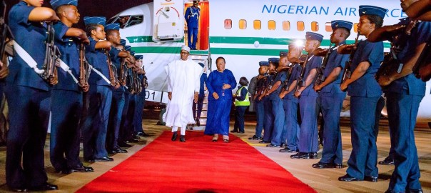 Buhari arrives South Africa. [PHOTO CREDIT: Presidency Twitter Handle]