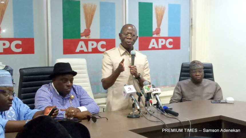 Adams Oshiomhole speaking at the APC Secretariat