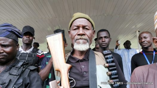 Traditional hunters recruited to help fight Boko Haram in Borno State.