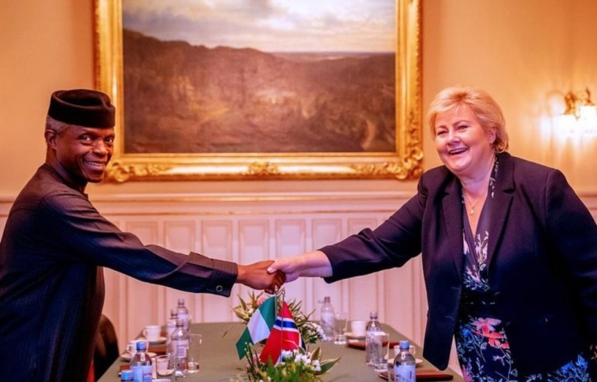 Vice President Yemi Osinbajo with Norway Prime Minister, Erna Solberg at Nordic-African Business Summit holding in Oslo, Norway. [PHOTO CREDIT: @Profosinbajo]