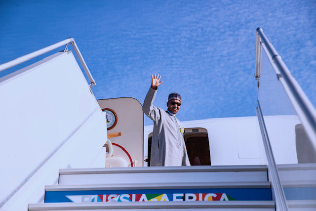 PRESIDENT BUHARI DEPARTS SOCHI FOR ABUJA 3B. President Muhammadu Buhari departs Sochi after a successful Russia-Africa Economic Summit with other World Leaders held in Sochi Russia. PHOTO; SUNDAY AGHAEZE. OCT 25 2019