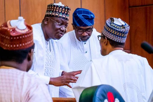 President of the Senate and Chairman of the National Assembly, Ahmad Ibrahim Lawan; Speaker of the House of Representatives, Rt (Hon.) Femi Gbajabiamila, and President Muhammadu Buhari, during the 2020 Budget presentation by the President at the National Assembly on Tuesday, 8th October, 2019.