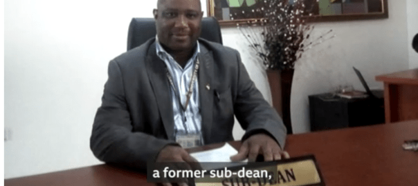 The lecturer, Boniface Igbeneghu, is a former sub-dean of Faculty of Art and head pastor of local Foursquare Gospel Church. [PHOTO CREDIT: Screen shot from BBC's secret video.]