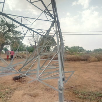 Vandalised tower in Katsina in May 2018
