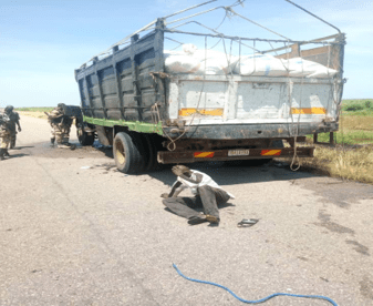 3 CIVILIANS ALONG WITH THEIR CANTER TRUCK LOADED WITH GRAINS RESCUED FROM THE BOKO HARAM CRIMINALS BY TROOPS OF 151 BATTALION AN 21 SPECIAL ARMOURED BRIGADE BETWEEN FIRGI AND PULKA