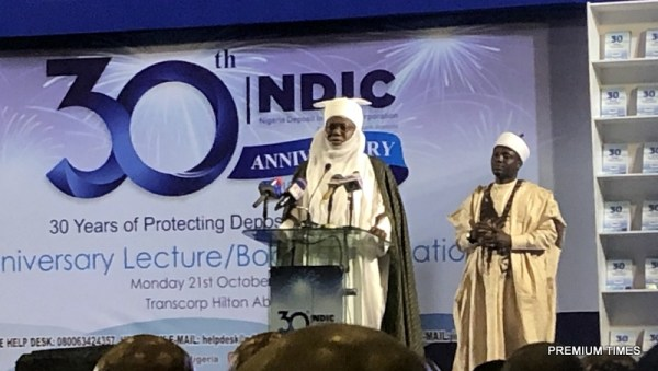 The Emir of Kazaure on the podium