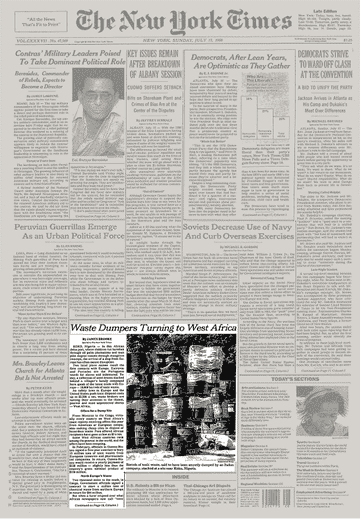 New York Times Article, July 17, 1988, Section 1, Page 1. Credit: New York Times Archives.