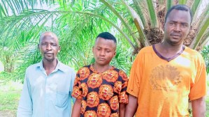 The three farmers rescued by Troop of Operation Thunder Strike in Kaduna on Wednesday. Pic /NAN
