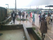 The drain beside the Aboru -Iyana-Ipaja canal along Ige Road that carried away the victims on Saturday (NAN) (12/10/19)