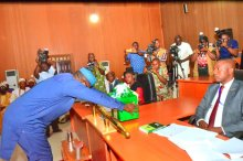 Kayode Fayemi presenting a 2020 appropriation bill of N124.7 billion to the Ekiti State House of Assembly