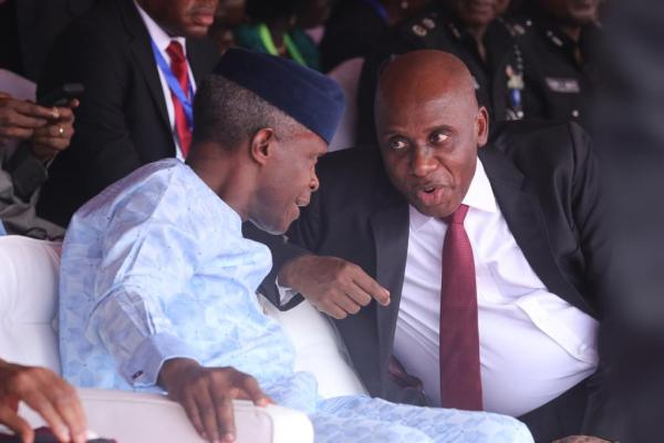 Vice President, Prof. Yemi Osinbajo with Minister of Transportation, Rt. Hon. Chibuike Rotimi Amaechi at the ground-breaking ceremony of the Railway Wagon Assembly Plant in Kajola, Ogun State, weekend.
