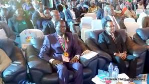 Mr Enabulele sitting beside his predecessor, Vajira Dissayanake immediately after his swearing in ceremony.