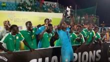 Senegal's beach soccer team win.