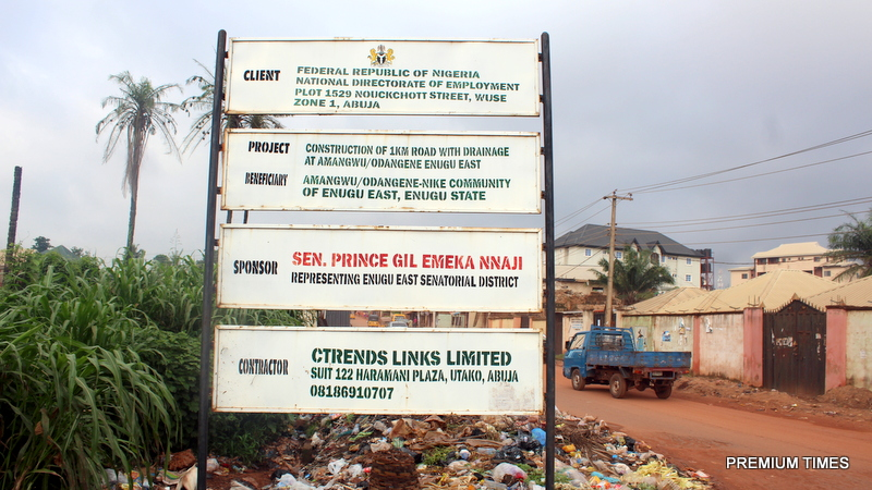 Signage of the project at Amangwu/Odangene road
