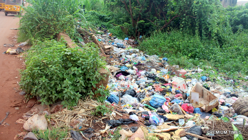 Parts of Amangwu/Odangene road turned to refuse dumpsite