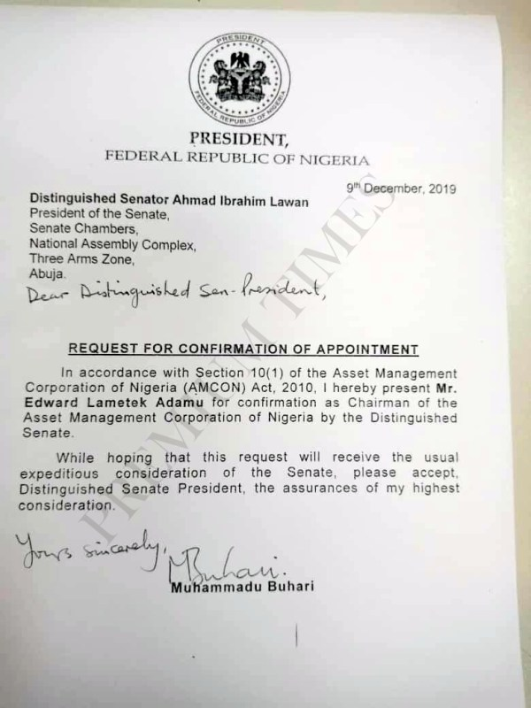 The letter of appointment of the new AMCON Director-General