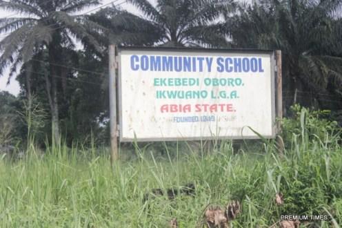 Signpost of Ekebedi Oboro Community School