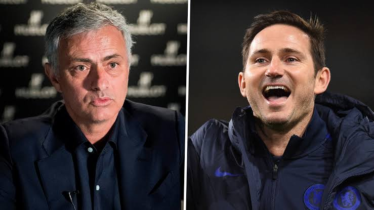 Tottenham Manager, Jose Mourinho and Chelsea FC Manager, Frank Lampard. [PHOTO CREDIT: Goal.com]