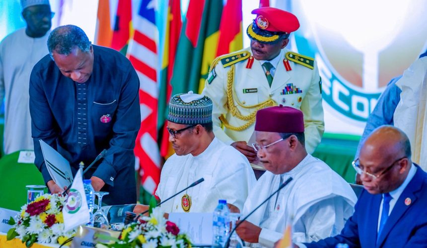 File photo of Nigeria's President Muhammadu Buhari at the 56th Ordinary session of the Economic Community of West Africa States (ECOWAS)