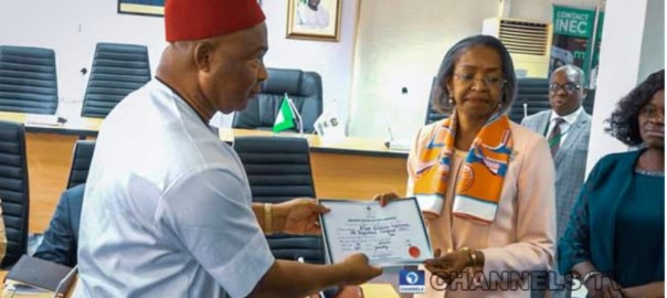 INEC issues certificate of return to Hooe Uzodinma (Photo Credit: Channels Tv)