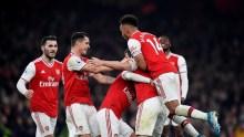Arsenal players celebrates Sokratis goal (Photo Credit: Reuters on Google)