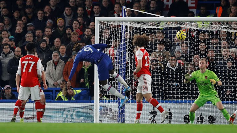 Arsenal's Bernd Leno makes a save from Chelsea's Tammy Abraham (Photo Credit: Reuters on Google)