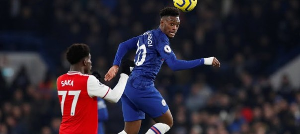 Chelsea's Callum Hudson-Odoi in action with Arsenal's Bukayo Saka (Photo Credit: Reuters on Google)
