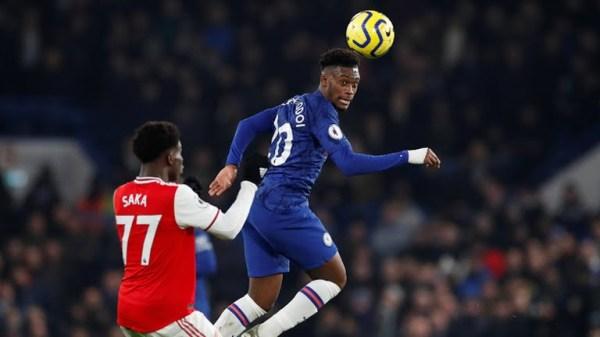 Chelsea's Callum Hudson-Odoi in action with Arsenal's Bukayo Saka (Photo Credit: Reuters on Google)