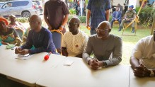 L-R: Special Adviser to the Governor on Political and Community Matters, Hon. Osaro Idah; Edo State Governor, Mr. Godwin Obaseki and Chairman, Edo State Chapter of the All Progressives Congress (APC), Anselm Ojezua, during a meeting of ward leaders from Oredo Local Government Area of Edo State, in Benin City.
