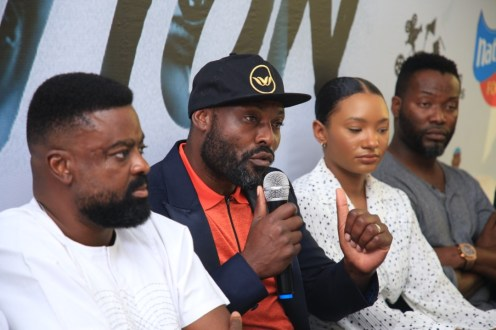 Director Kunle Afolayan with actors_ Jimmy Jean-Louis, Temi Otedola, and Adjetey Anang at the press conference of CITATION in Lagos on Thursday