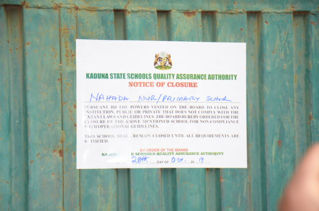 FILE PHOTO of Kaduna State Schools Quality Assurance Authority /KADIRS joint task force closing private schools that are operating illegally in the state [PHOTO CREDIT: @Kaduna_MoE]