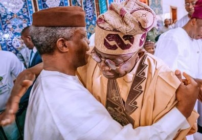 Yemi Osibanjo and Bola Tinubu hug each other at L-R Atiku Abubakar and Yemi Osibanjo at NUHU RIBADU'S son's wedding in Abuja [PHOTO: @DeleMomodu]