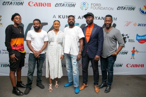 Filmmaker Kunle Afolayan flanked by Bukunmi Oluwashina, Gabriel Afolayan, Temi Otedola (left), Jimmy Jean-Louis and Adjetey Anang all actors in Afolayan's new movie, CITATION.