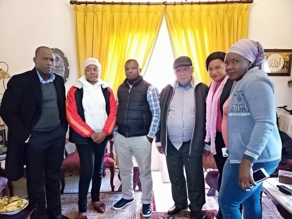 """Four staff from our mission in Lebanon and the """"Master"""" the White Old man that brought Omolola"""