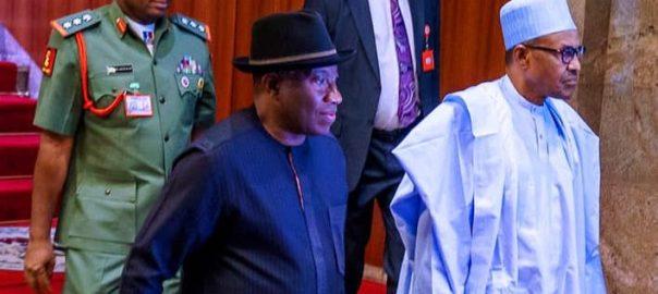 President Muhammadu Buhari receives Former President Goodluck Jonathan in State House on 30th Jan 2020