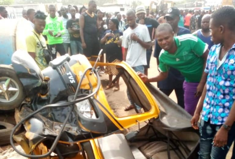 The scene of the accident involving tricycles in Anambra