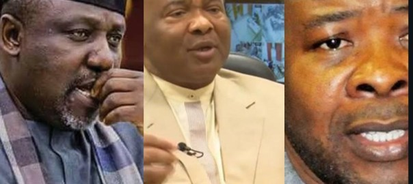 Former Gov. Rochas Okorocha, Chief Hope Uzodinma, and Hope Uzodinma