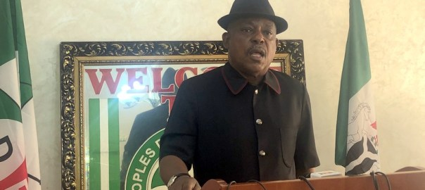 PDP National Chairman, Uche Secondus while addressing a world press conference on the recent verdict of the Supreme Court on Imo governorship.