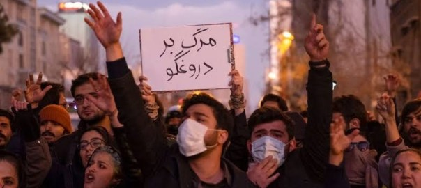 Iranians protest shooting down of Ukrainian planeG