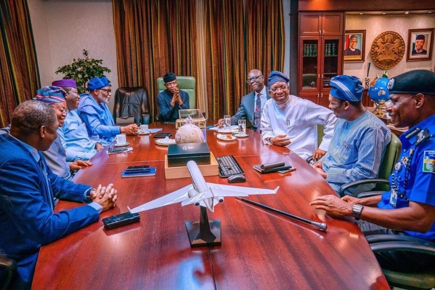 Vice President Yemi Osibanjo in a meeting with south-west leaders [Photo: Presidency]