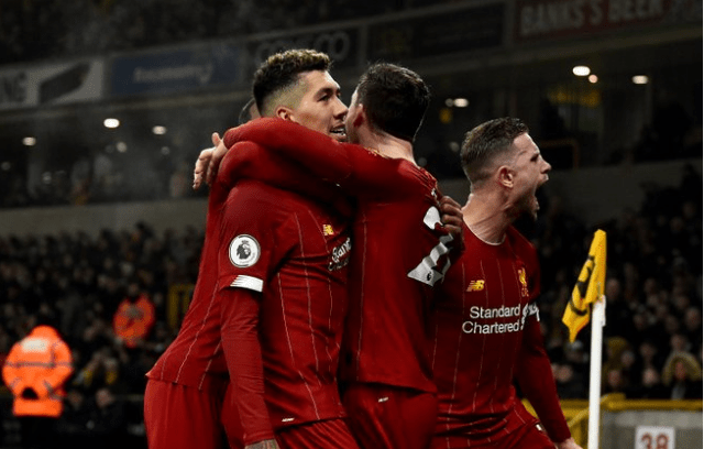 Liverpool players jubilate after a win over Wolverhampton Wanderers [Photo: @LiverpoolFc]